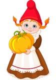 Trädgårds- Gnome med pumpa Fotografering för Bildbyråer