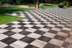 Trädgårds- wood trottoar Royaltyfri Foto