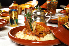 Trditional food. Traditional marocan food served on table Royalty Free Stock Photo