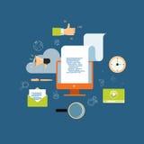 Treści cyfrowe marketing dla biznesowego onlinego tła Obrazy Royalty Free