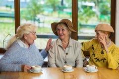 Tre äldre kvinnor som dricker kaffe Arkivbild