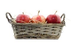 Tre äpplen i en vasskorg Arkivbild