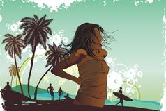 tre ладони острова девушки тропическое Стоковые Фотографии RF