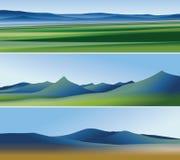 Tre abstrakta baner med berg Royaltyfri Foto