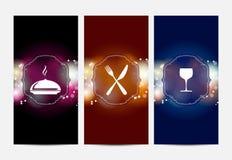 Tre abstrakta baner med restaurangtema Royaltyfri Fotografi
