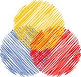 Tre abstrakta färgbollar royaltyfri bild