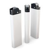 Tre accendini bianchi isolati su fondo bianco rappresentazione 3d Fotografie Stock Libere da Diritti