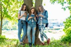 Tre adolescenti fanno una pausa l'albero di estate in parco In sue mani tiene lo smartphone e comunica le reti sociali fotografia stock