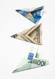 Tre aerei della banconota Fotografia Stock