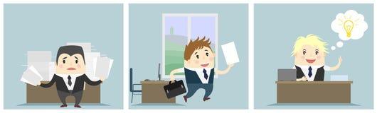 Tre affärsmän i regeringsställning stock illustrationer