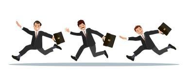 Tre affärsmän med en portfölj i deras hand är sena för arbete Fotografering för Bildbyråer