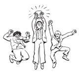 Tre affärsmän som hoppar för hållande övre vinnande kopp för glädje vektor Royaltyfri Fotografi