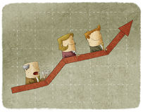 Tre affärspersoner som går upp Arkivbild