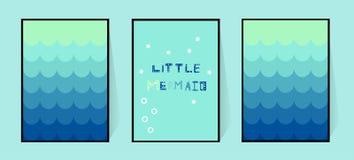 Tre affischer med en blå svans för sjöjungfrulutning Vägggarnering i barnkammaren eller badrummet för flickor Rolig inskrift in stock illustrationer