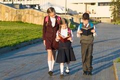 Tre allievi in uniforme scolastico che camminano lungo la strada nel parco e che leggono un libro Fotografie Stock Libere da Diritti