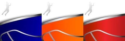 Tre ambiti di provenienza variopinti di pallacanestro Fotografie Stock Libere da Diritti