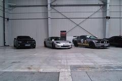 Tre amerikanska bilar Royaltyfria Foton