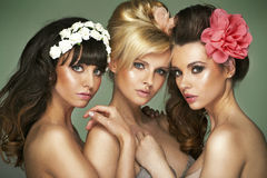 Tre amiche mezzo nude fantastiche immagine stock