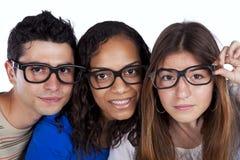 Tre amici astuti dell'allievo Fotografia Stock Libera da Diritti