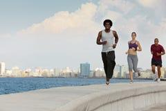 Tre amici che fanno le attività di sport si avvicinano al mare Fotografie Stock Libere da Diritti