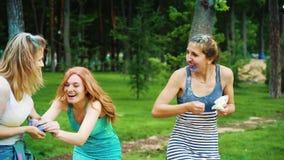 Tre amici femminili si divertono al festival di colori di Holi nel parco dell'estate stock footage