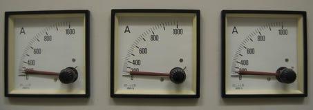 Tre amperemeter Royaltyfri Fotografi