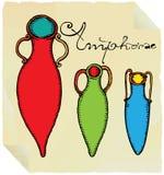 Tre amphorae antic decorativi Fotografia Stock
