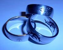 Tre anelli dell'acciaio inossidabile Immagini Stock Libere da Diritti