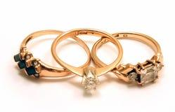 Tre anelli di oro Fotografia Stock Libera da Diritti