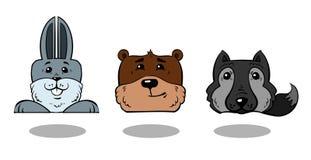 Tre animali della foresta - coniglio, orso e lupo Fotografia Stock