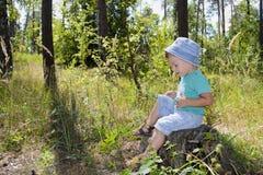 Tre anni svegli di ragazzo nella foresta sui ceppi Immagini Stock