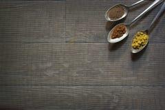 Tre antika silverskedar med olika kryddor i varje Royaltyfri Fotografi