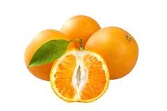 Tre arance con la metà Fotografie Stock