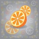 Tre arance su fondo grigio illustrazione vettoriale