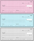 Tre assegni bancari Fotografia Stock