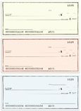 Tre assegni senza i numeri nomi e falsi Immagine Stock