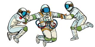 Tre astronauti nello spazio nell'isolato di gravità zero su fondo bianco illustrazione vettoriale