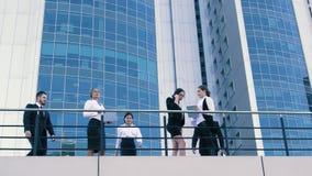Tre attraktiva affärskvinnor väntar på deras coworkers på terrass stock video