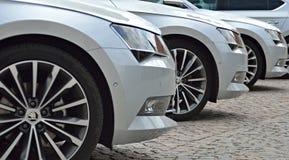 Tre automobili di lusso Fotografia Stock