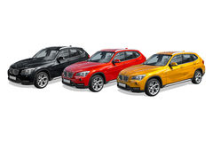 Tre automobili moderne, BMW X1 Fotografie Stock Libere da Diritti