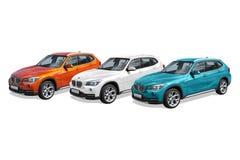 Tre automobili moderne, BMW X1 Fotografia Stock Libera da Diritti