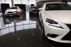 Tre automobili, nuovo Lexus È e GS Fotografia Stock Libera da Diritti