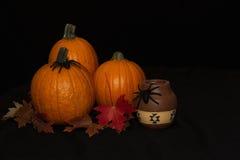 Tre Autumn Pumpkins med Autumn Leaves Royaltyfri Foto