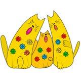 Tre av gulliga sjungande katter abstrakt vektor för färgfiskillustration Arkivbild