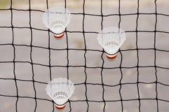 Tre badmintonfjäderbollar Royaltyfria Bilder