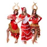 Tre ballerini delle donne con i corni Isolato su priorità bassa bianca Fotografia Stock