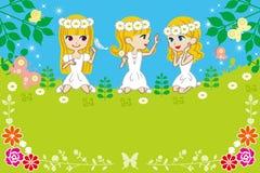 Tre bambine nella natura di primavera - EPS10 illustrazione di stock