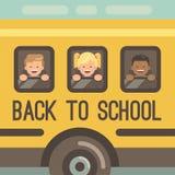 Tre bambini che guardano fuori le finestre di uno scuolabus illustrazione di stock