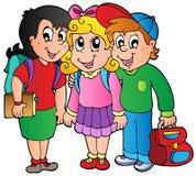 Tre bambini felici del banco Fotografia Stock Libera da Diritti