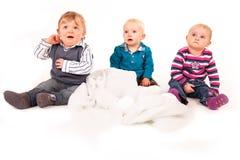 Tre bambini tristi Fotografia Stock